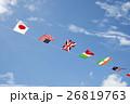 運動会の万国旗と青空 26819763