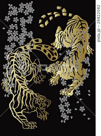 和柄の虎のイラスト素材 26822082 Pixta