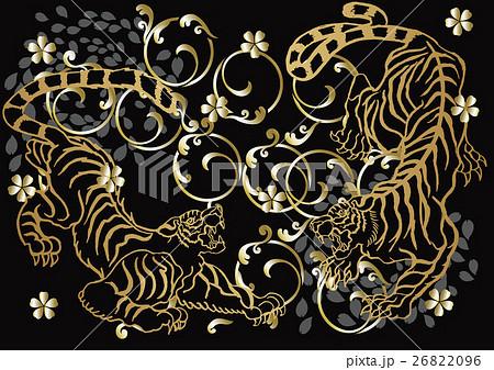 和柄の虎のイラスト素材 26822096 Pixta