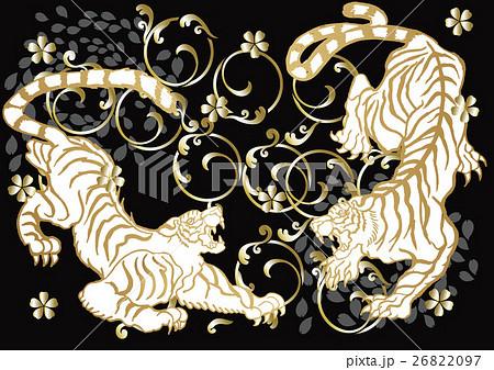 和柄の虎のイラスト素材 26822097 Pixta