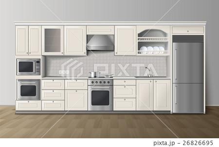 Luxury Kitchen White Realistic Interior Image  26826695