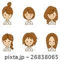 女性 顔 髪型のイラスト 26838065