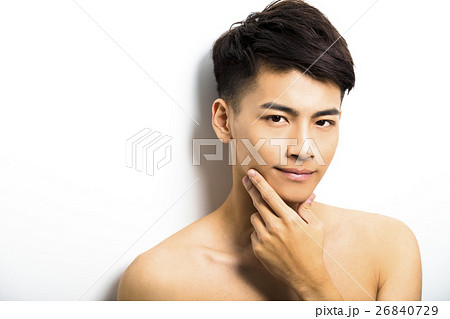 closeup portrait of attractive young man faceの写真素材 26840729