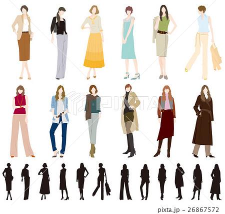女性のファッションのイラスト素材 26867572 Pixta