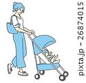 母親 赤ちゃん ベビーカーのイラスト 26874015