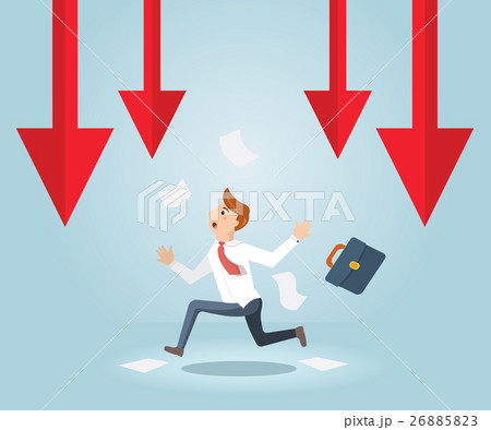 Businessman running out of business arrow fallingのイラスト素材 [26885823] - PIXTA