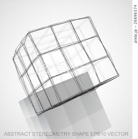 Abstract stereometry shape: Ink sketched Cubeのイラスト素材 [26896374] - PIXTA
