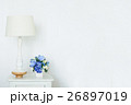 Vintage lamp and artificial bouquet on white small 26897019