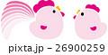 にわとり二羽 酉年 ひよこ ピンク 26900259