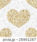 Fine seamless vector pattern with ornate hearts 26901267