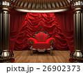 red velvet curtain opening the scene 26902373