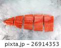 Fresh raw salmon fillet on ice 26914353