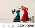 womans dancer wearing red dress 26914696
