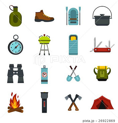 Camping equipment icons set, flat style 26922869