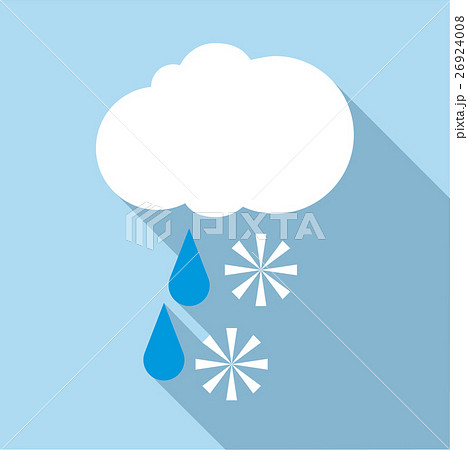 snow with rain icon flat styleのイラスト素材 26924008 pixta