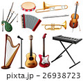 Different types of musical instrument on white 26938723