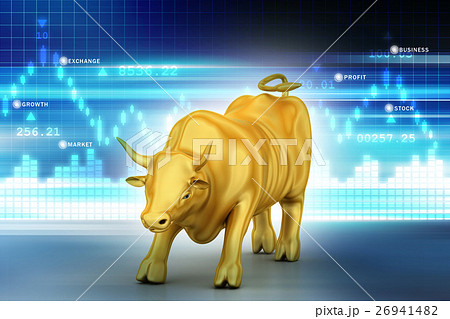 Rising bronze business bull in color background 26941482