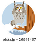 Grey Owl on the winter tree flat background 26946467