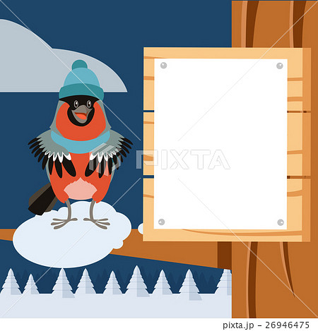 Happy Bullfinch with Hat on the winter backgroundのイラスト素材 [26946475] - PIXTA