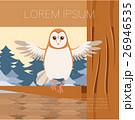 Screech-Owl on the flat tree background 26946535
