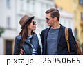 Happy couple walking in Europe. Smiling lovers 26950665