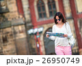 Young woman with a city map in city. Travel 26950749