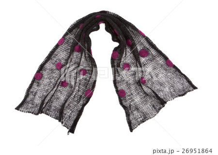scarf mande from black dotted mohair fabricの写真素材 [26951864] - PIXTA