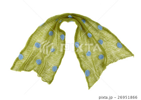 scarf mande from  green dotted mohair fabricの写真素材 [26951866] - PIXTA