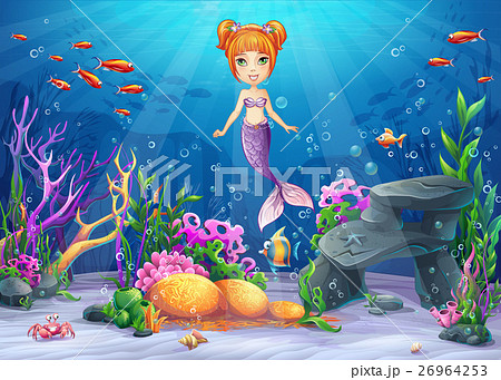 Vector cartoon illustration underwater world 26964253