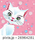 Vector illustration pussy cat  pink background 26964281