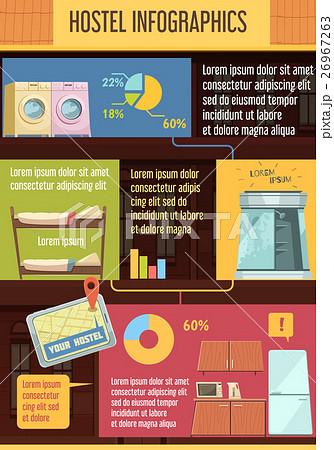 hostel infographics flat templateのイラスト素材 26967263 pixta