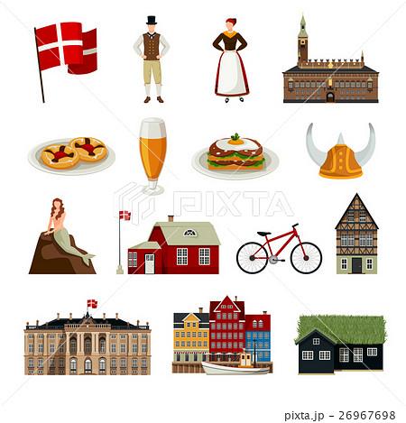 Denmark Flat Style Icons Set 26967698