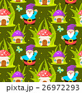 Forest mushroom home and gnomes seamless pattern. 26972293