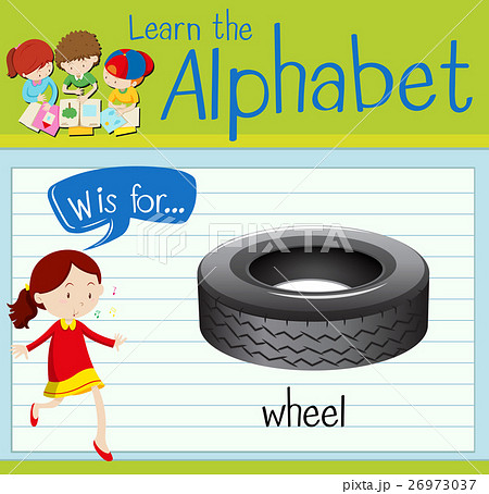 flashcard letter w is for wheelのイラスト素材 26973037 pixta