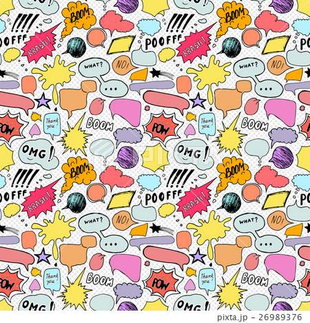 Seamless pattern comic book speech bubbles, vectorのイラスト素材 [26989376] - PIXTA