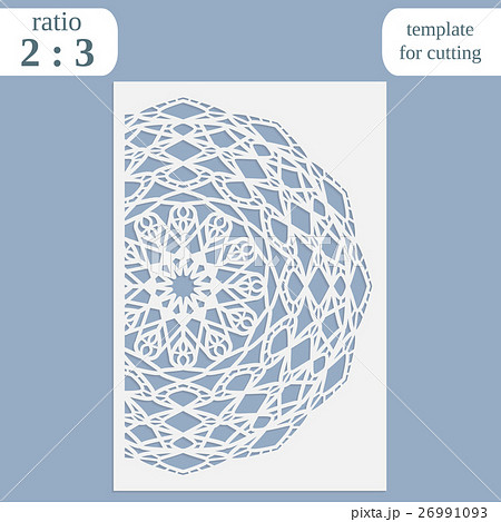 Paper openwork greeting card, template for cuttingのイラスト素材 [26991093] - PIXTA