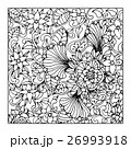 Monochrome Floral Pattern Vector. Hand Drawn 26993918