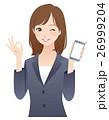 女性 ビジネス スマホ オーケーサイン 26999204