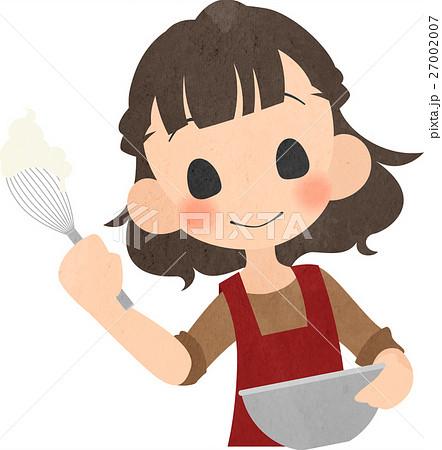 お菓子を作る女の人のイラスト素材 27002007 Pixta