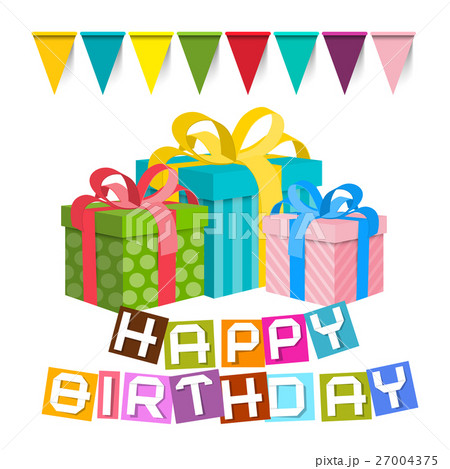 Happy birthday gift boxes with flags 27004375 pixta happy birthday gift boxes with flags negle Images