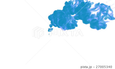 blue ink drop in water on a white background for 27005340