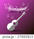 Paper Cut Guitar with Music Notes and Staff 27005813
