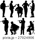 Silhouettes street musicians playing instruments. 27024906