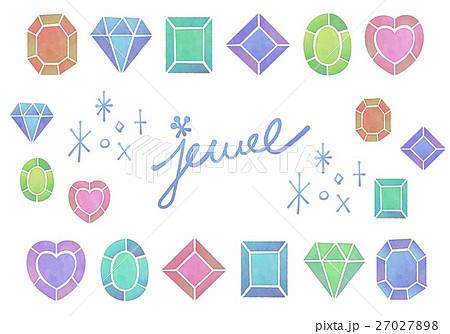 おしゃれでかわいいアナログ水彩画風 宝石 ラインストーンのアイコン