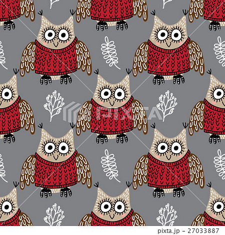 Seamless pattern with cute owlsのイラスト素材 [27033887] - PIXTA