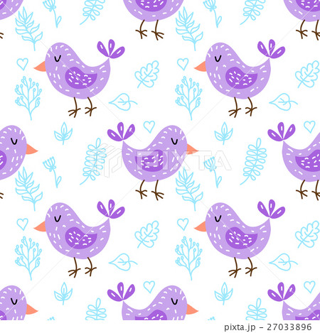 Seamless pattern with cute owlsのイラスト素材 [27033896] - PIXTA