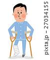 骨折 松葉杖の男性 27034155