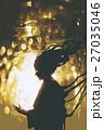 female robot silhouette on golden light background 27035046