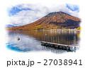 栃木県日光市 男体山と中禅寺湖(10月)_イラスト風 27038941