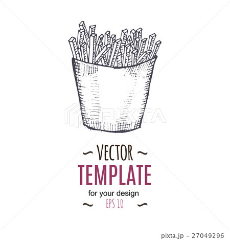 Vector vintage French fries drawing. Hand drawnのイラスト素材 [27049296] - PIXTA